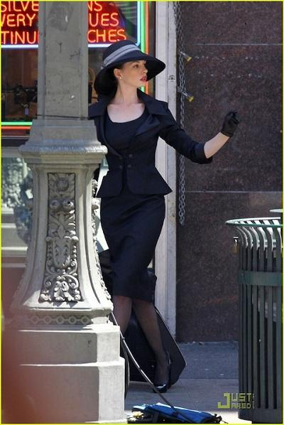 Anne Hathaway on the Dark Knight Rises set