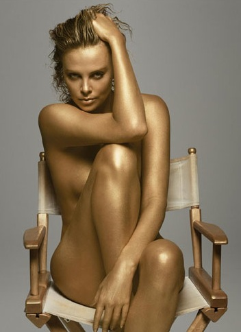 Breathtaking actress Charlize Theron is completely nude in this photo.