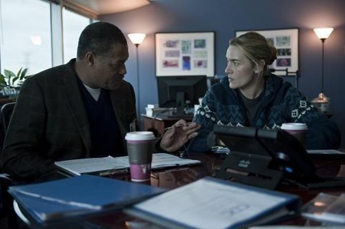 Laurence Fishburne and Kate Winslet in Contagion